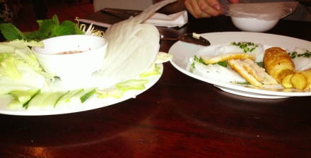 Sugar cane, fish cake, rice wrappers, lettuce, bean sprouts and fish sauce.
