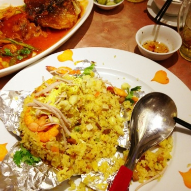 A fried rice type of dish that was nice after drinking lots of beer!