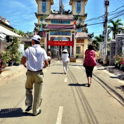 Walking to our last stop, a Vietnamese temple.